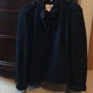 Black sweater jacket with military look
